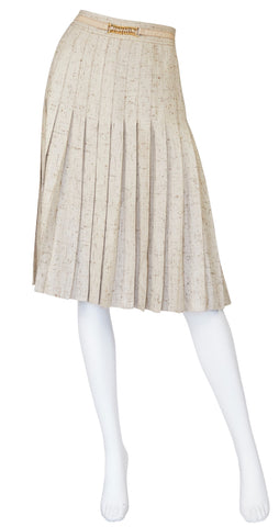 1970s Leather Trim Beige Silk Pleated Skirt