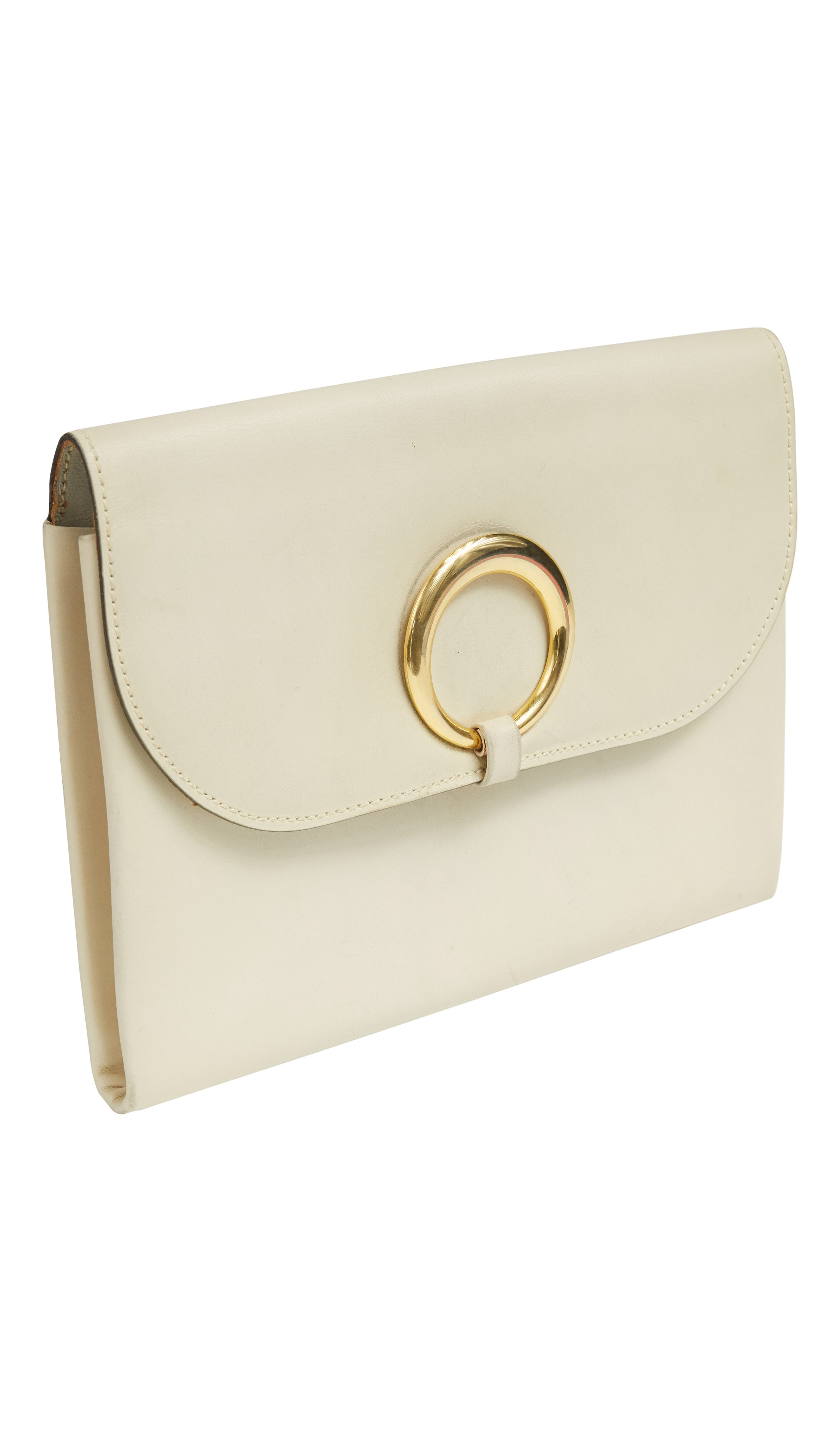 1970s Ivory Genuine Leather Envelope Clutch