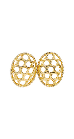 1980s Gold Plated Cut-Out Clip-On Earrings