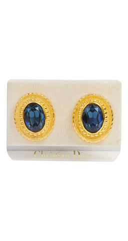 1980s NOS Blue Jewel Gold Plated Clip-On Earrings
