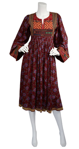 1970s Afghan Embroidered Cotton Dress