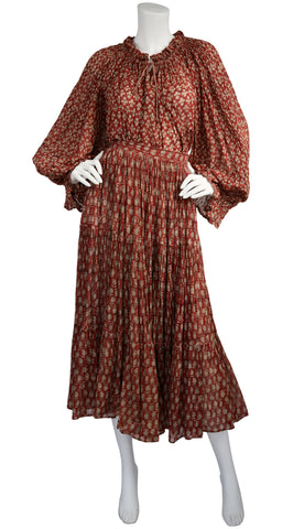 1970s Billowing Indian Cotton Gauze Two-Piece Set