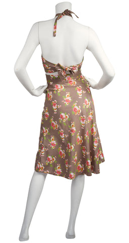 1970s does 1940s Floral Cotton Halter Top Set