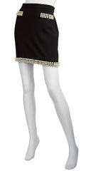 2010 S/S Runway Pearl Trim Black Mini Skirt