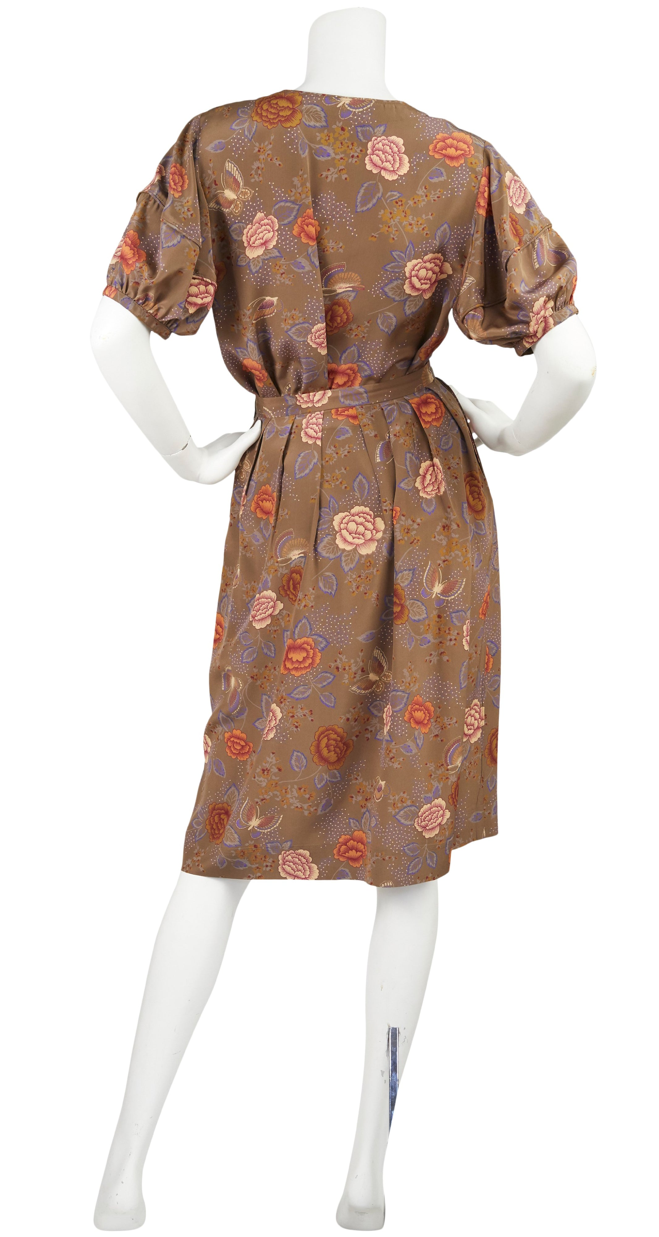1970s Butterfly Floral Silk Puff Sleeve Blouse & Skirt Set