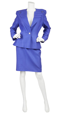 1980s does 1940s Periwinkle Wool Skirt Suit