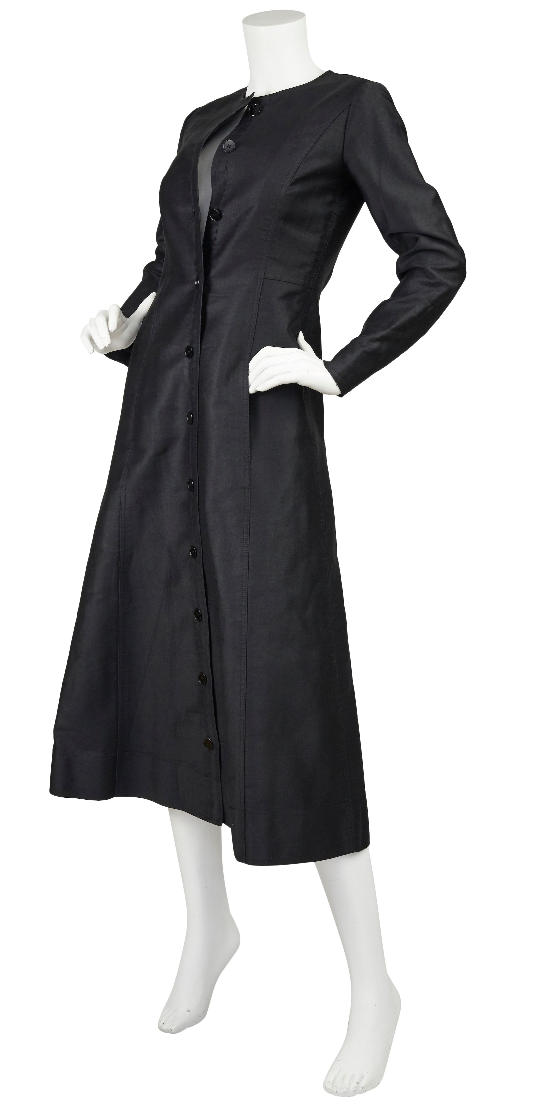 1970 Black Polished Cotton Button Midi Dress