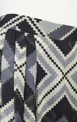 1970s Monochrome Aztec Print Silk Chiffon Pleated Skirt