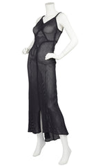 1930s Rare Black Cotton Fishnet Evening Gown