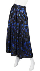 1980s Blue & Black Paisley Lurex Evening Skirt