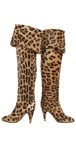 1980s Italian Leopard Print Pony Fur Thigh-High Boots