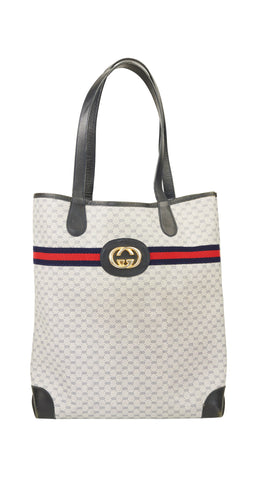 1980s Large GG Monogram Canvas & Leather Tote