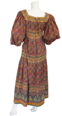 1970s Indian Cotton Hand-Blocked Poet Sleeve Maxi Dress