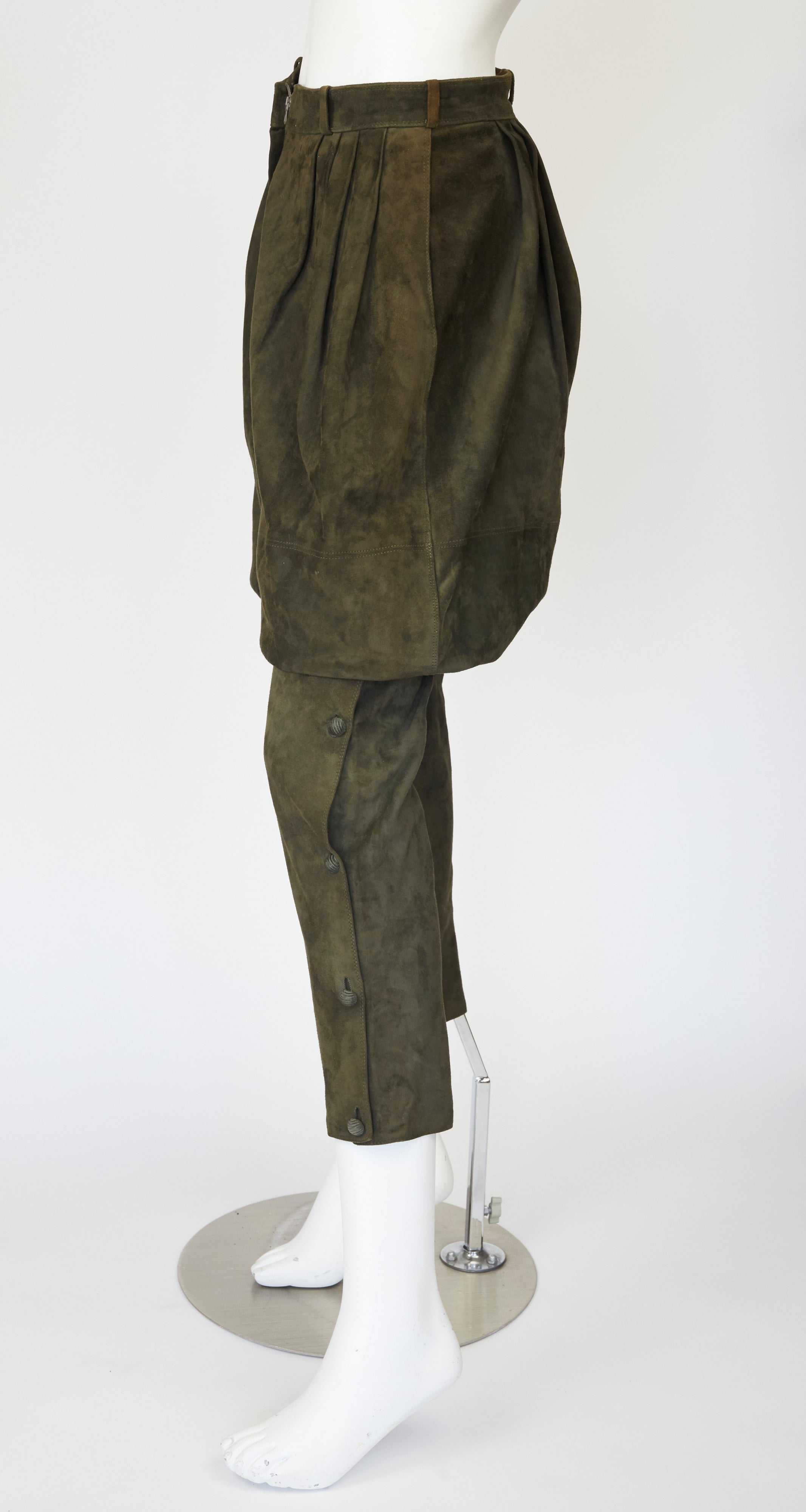 1981 Olive Green Suede & Corduroy Balloon Pants