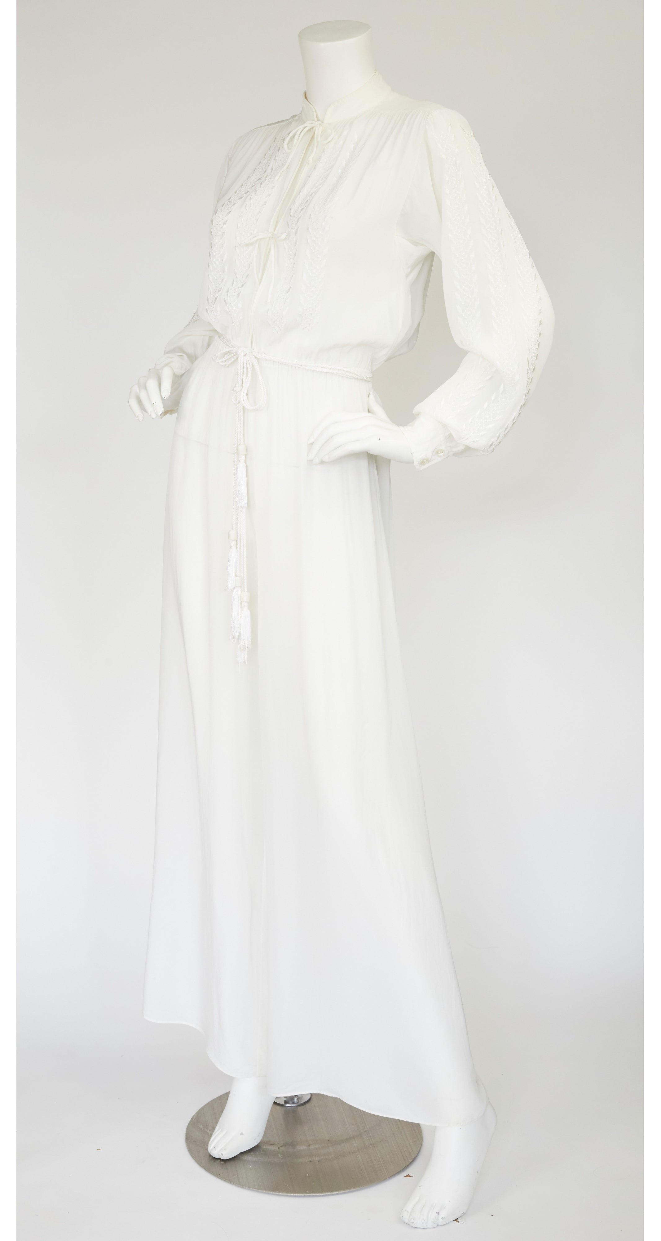 1970s Embroidered White Rayon Crepe Tassel Jumpsuit