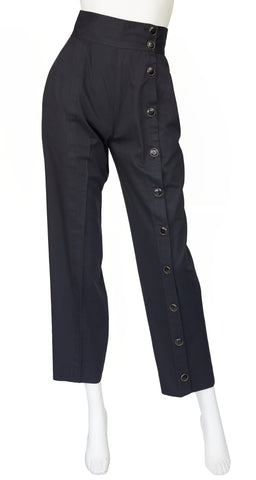 "1980s ""Le Smoking"" Black Cotton High-Waisted Trousers"