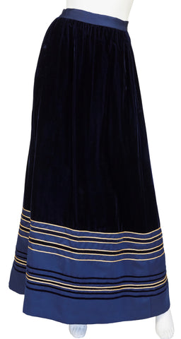 1970s Gold & Navy Blue Velvet Maxi Evening Skirt