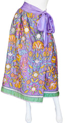 1960s Floral & Metallic Purple Quilted Skirt