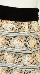 1960s Embellished Metallic Lace & Black Velvet Evening Skirt