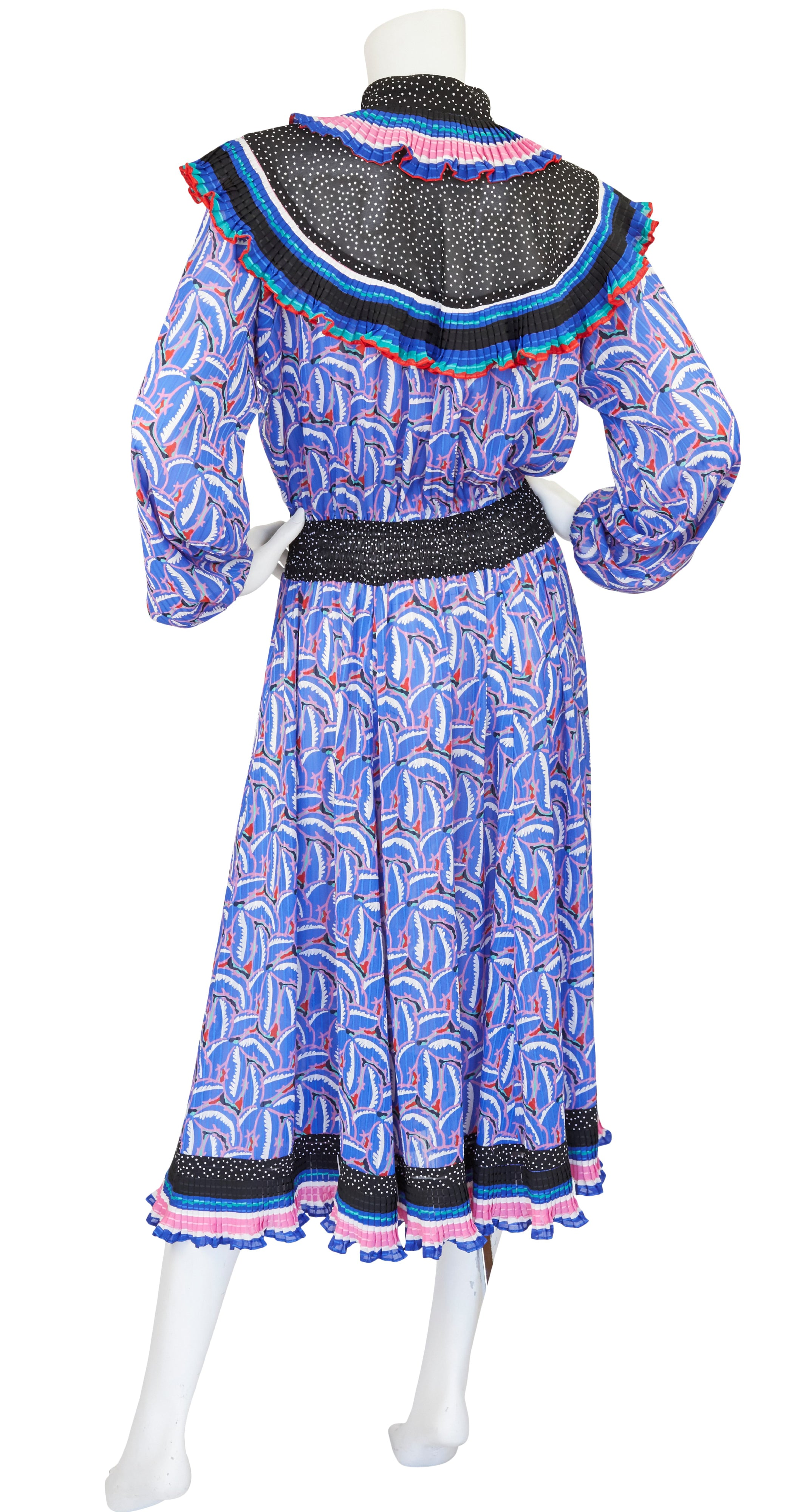 1980s Ruffled Collar Printed Georgette Dress