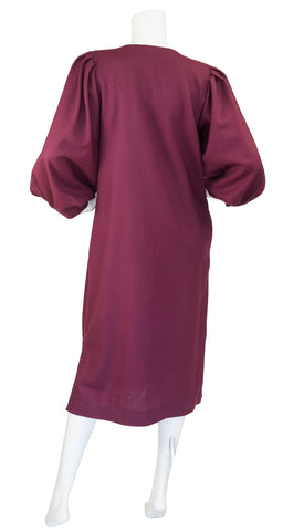 1980s Burgundy Wool Poet Sleeve Dress