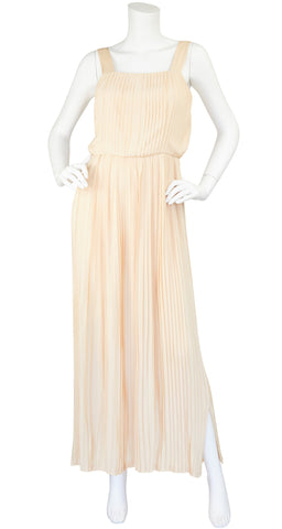 1970s Cream Silk Pleated Gown & Jacket Set