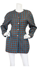 1980s Plaid Wool Hourglass Jacket