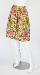 1950s Floral Hand-Painted Woven Straw Full Skirt