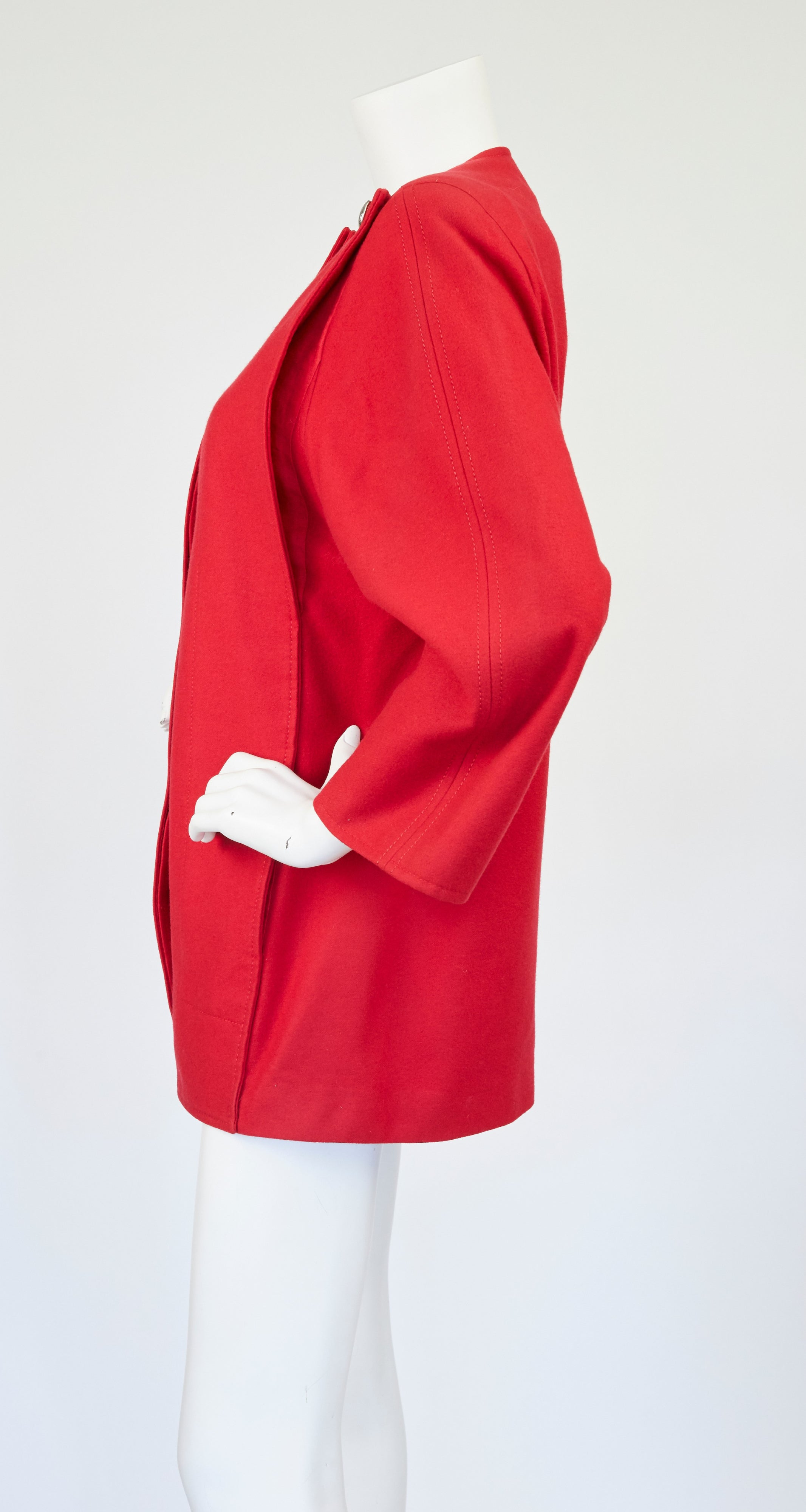 1980s Red Wool Panel Jacket