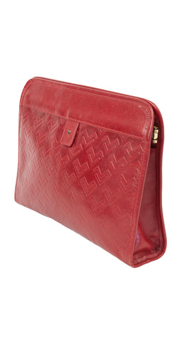 1970s Monogram Red Leather Clutch Bag