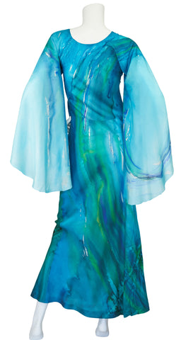 1960s Ethereal Blue Watercolor Silk Angel Sleeve Dress