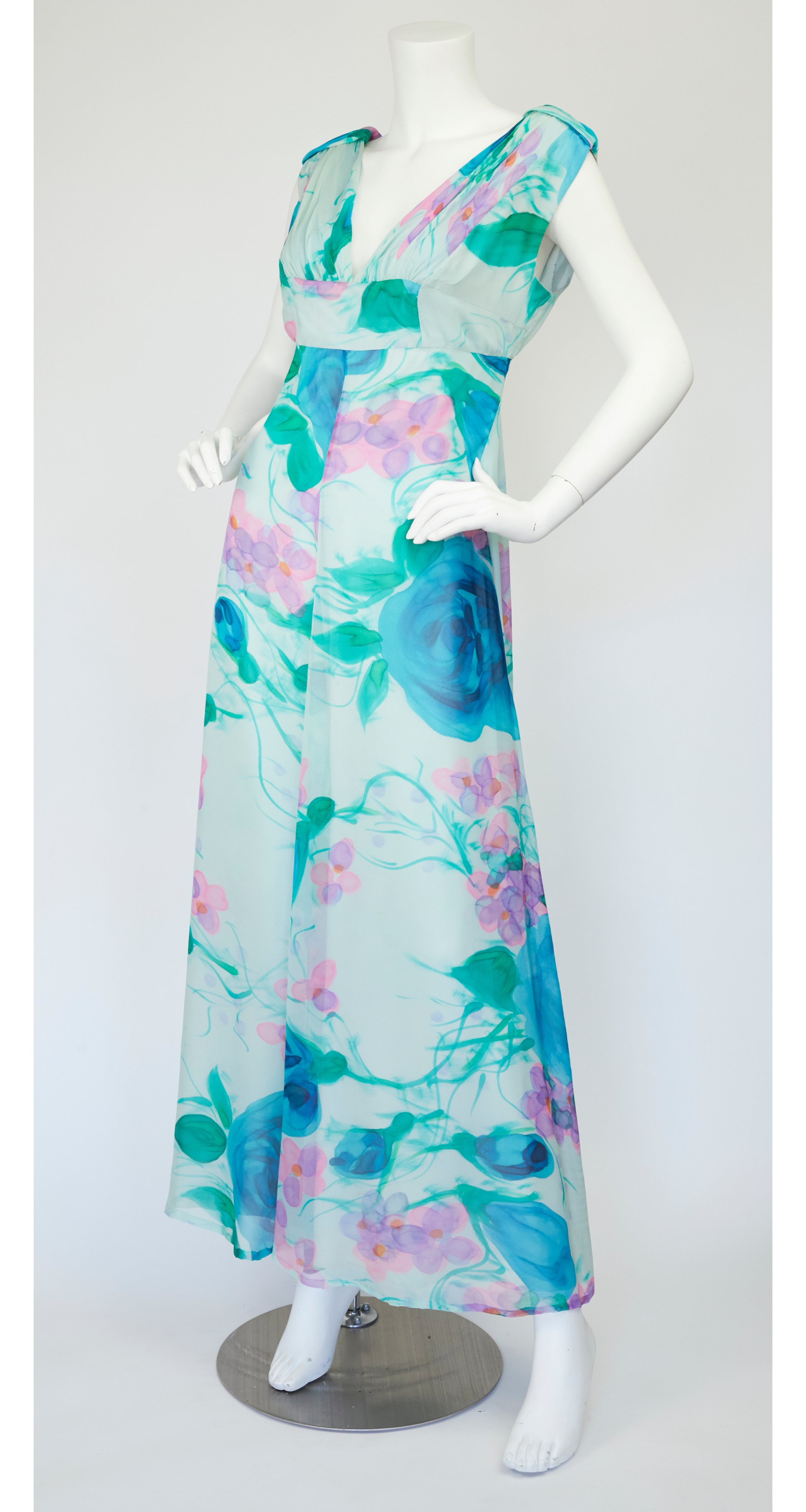 1970s French Floral Silk Chiffon Maxi Dress