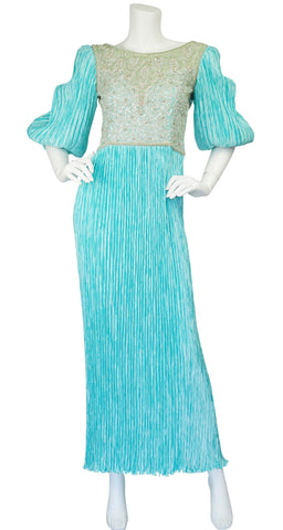 1980s Beaded Turquoise Fortuny Pleat Gown