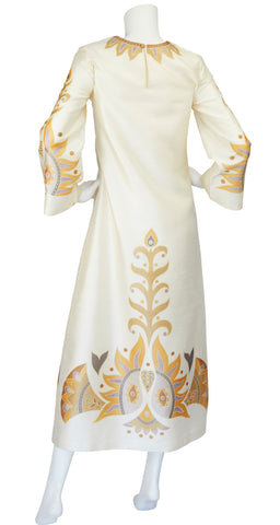 1960s Bird Print Cream Thai Silk Caftan Maxi Dress