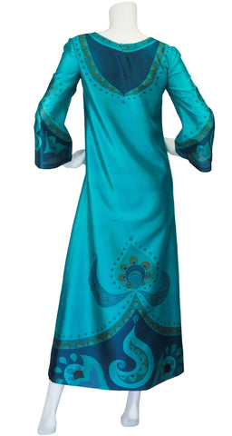 1960s Teal Printed Thai Silk Caftan Maxi Dress