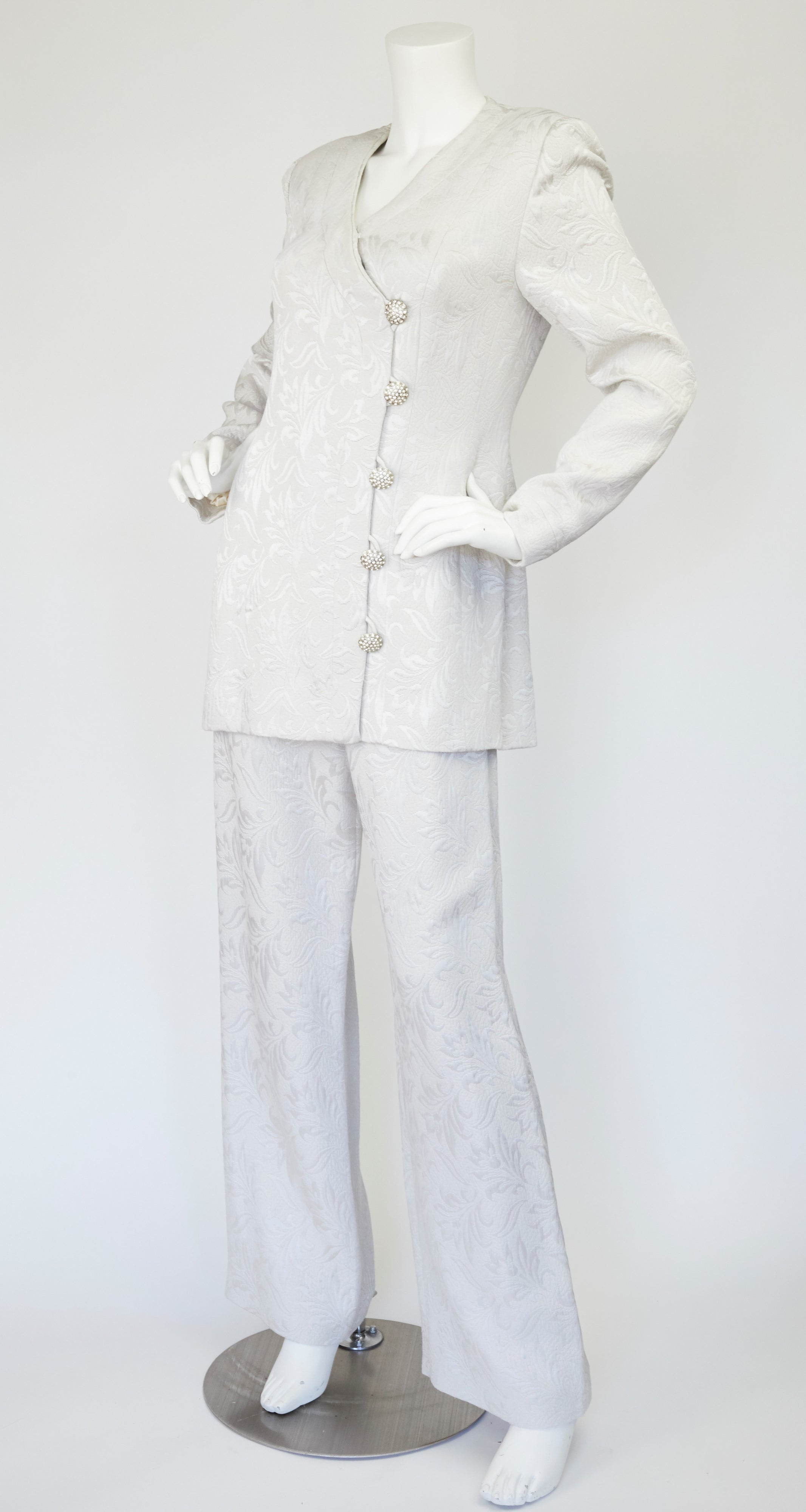 1980s Rhinestone Button Silver Silk Brocade Pant Suit