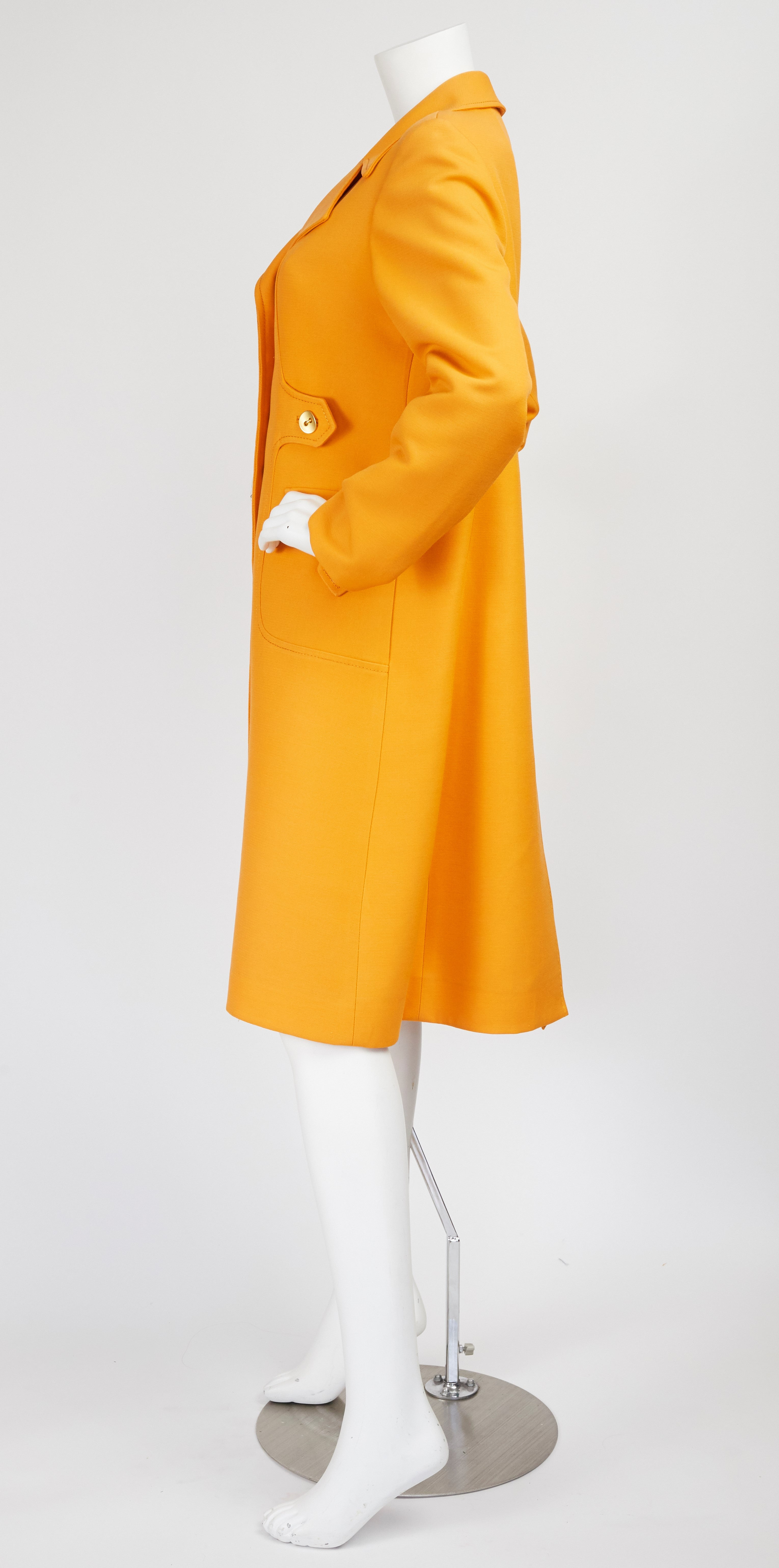 c.1970 Marc Bohan Demi-Couture Numbered Orange Wool Coat