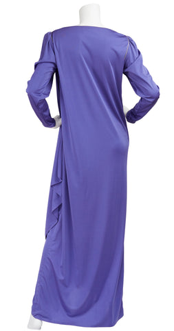 1970s Grecian Draped Purple Jersey Lounge Dress