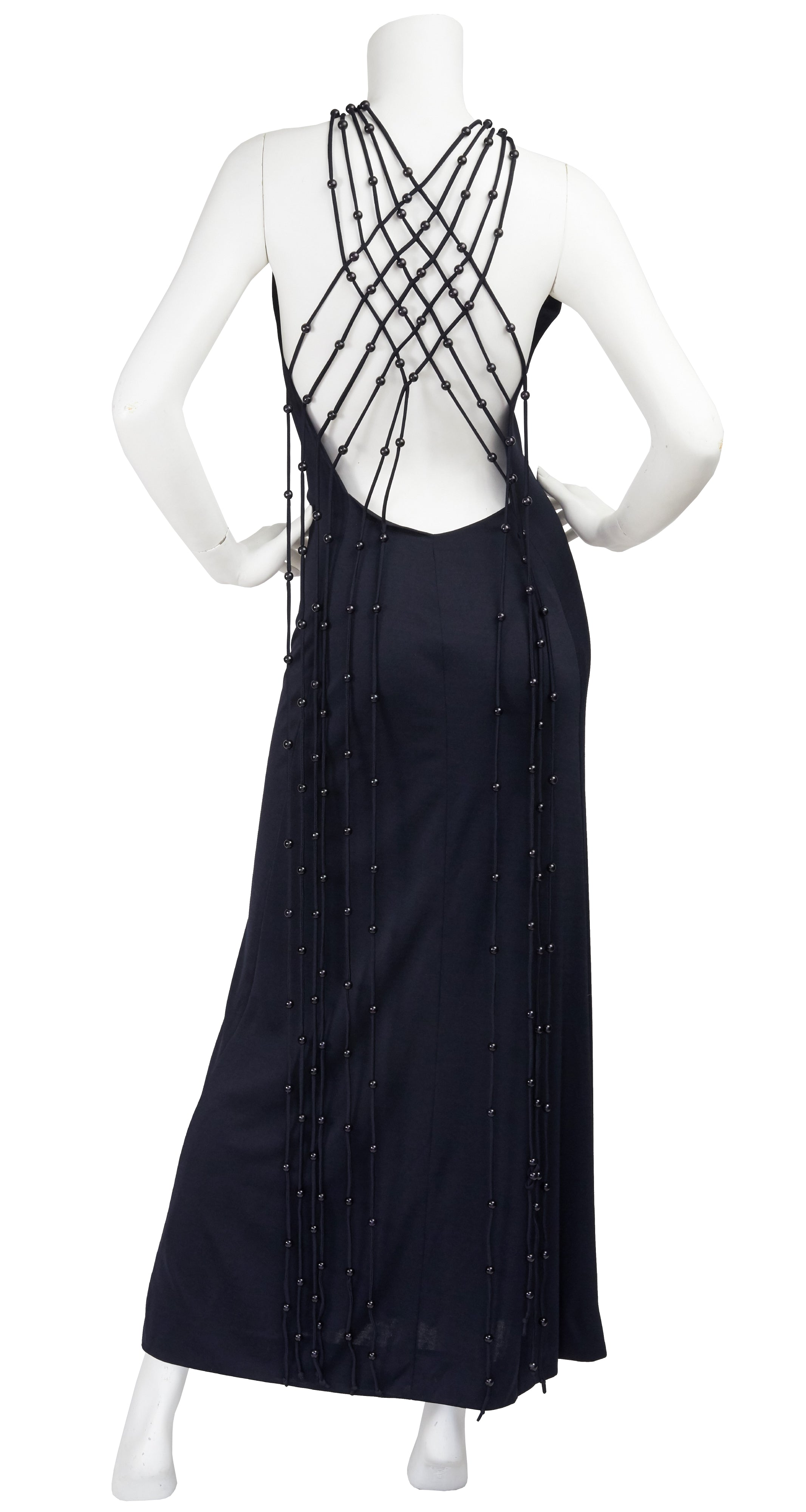 1971 Loris Azzaro Design Black Beaded Macrame Jersey Gown
