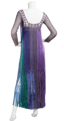 1970s Purple Crochet & Ombré  Fringe Maxi Dress