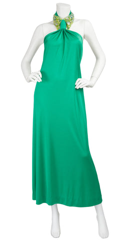 1970s Beaded Collar Green Jersey Backless Gown