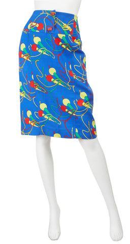 c. 1980 Microphone Novelty Print Blue Cotton Skirt