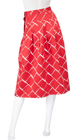 1970s Red & White Cotton Graphic Pleated Skirt