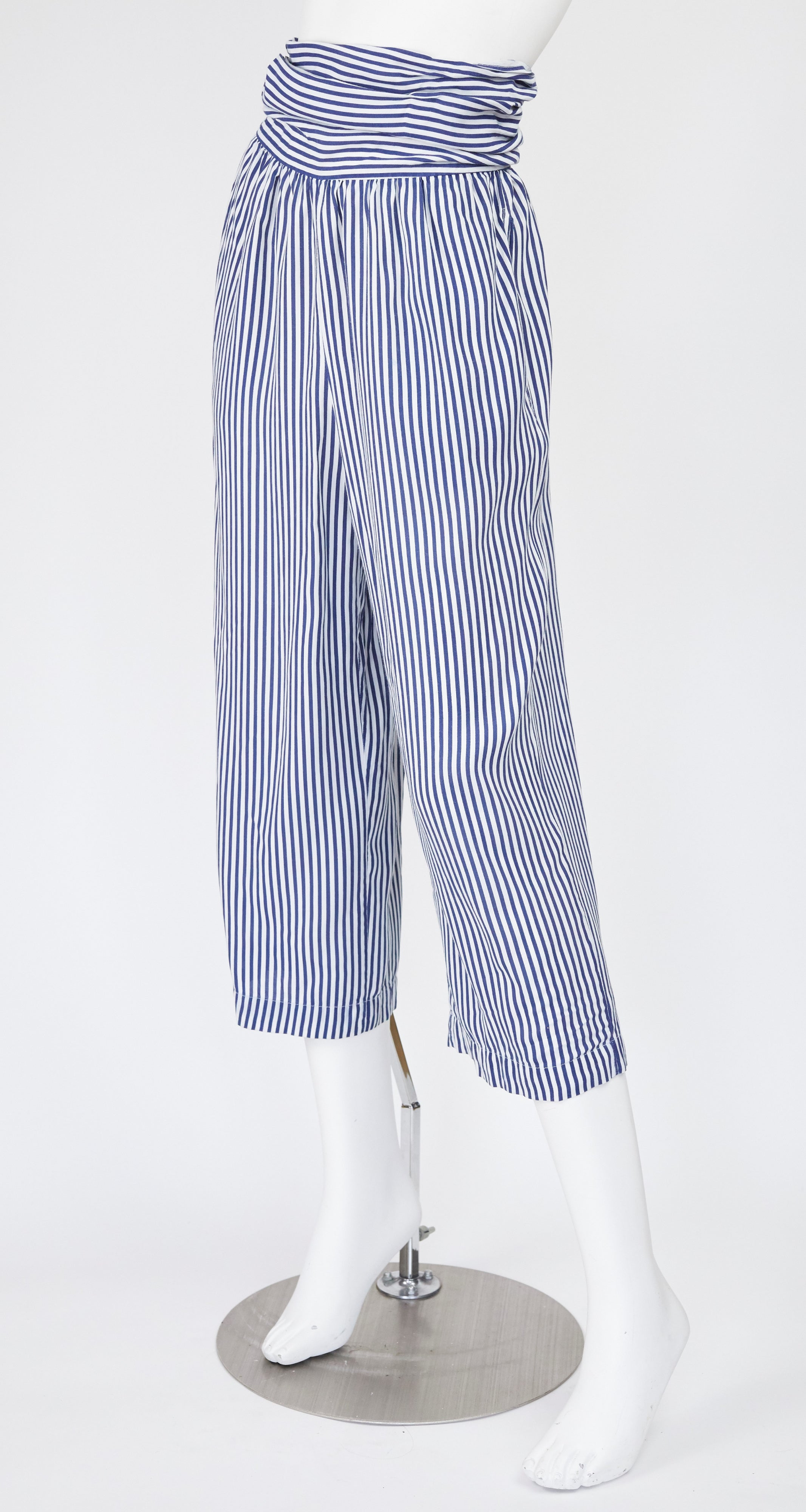 1970s White & Blue Striped Cotton High-Waisted Pants