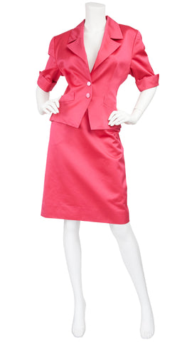 1990s Hot Pink Mercerized Cotton Skirt Suit