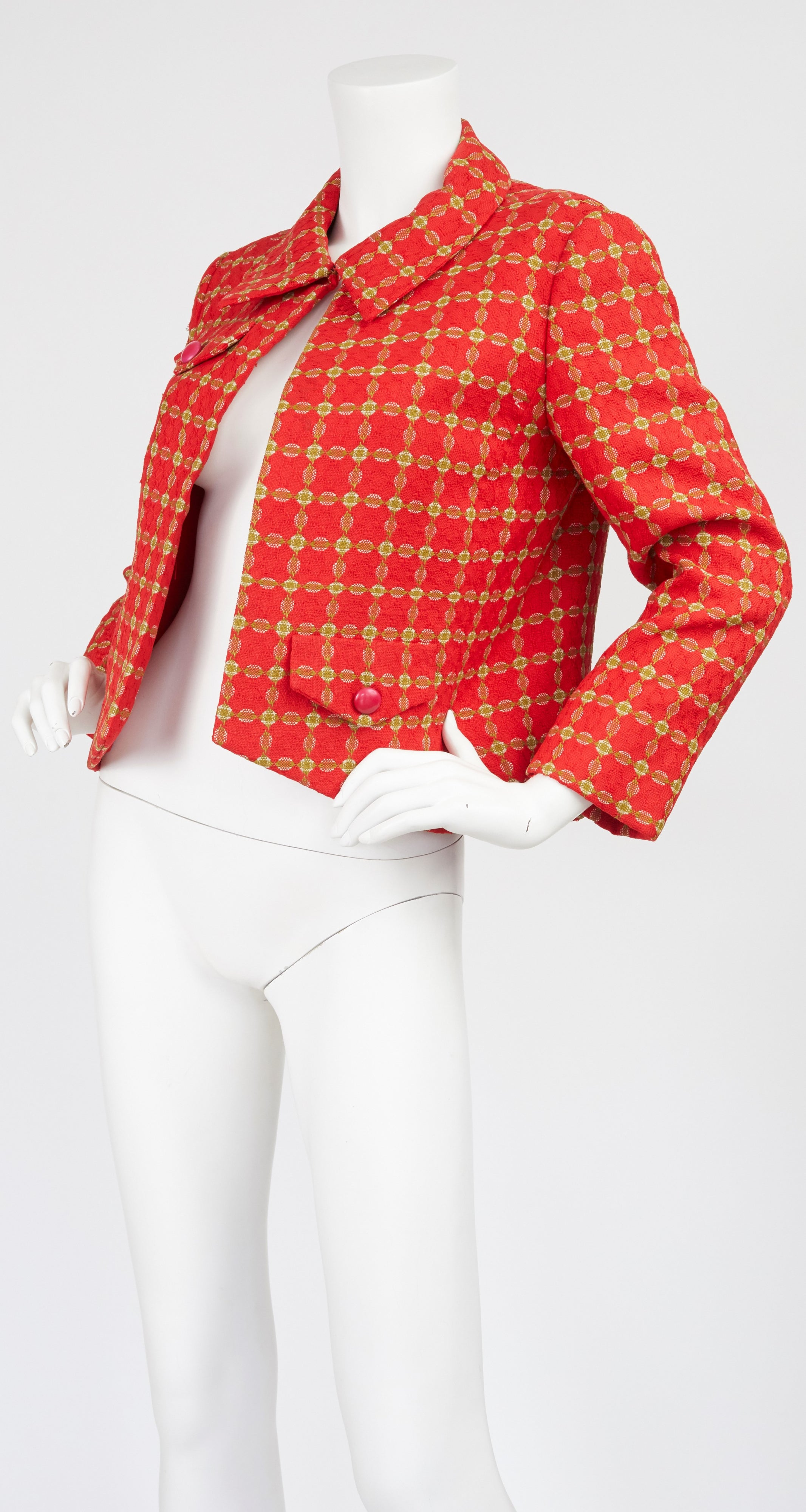 1960s Red & Green Plaid Cropped Jacket