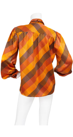 1980s Orange Checkered Silk Balloon Sleeve Blouse