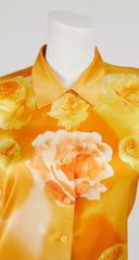 1990s Rose Photoprint Silk Collared Blouse