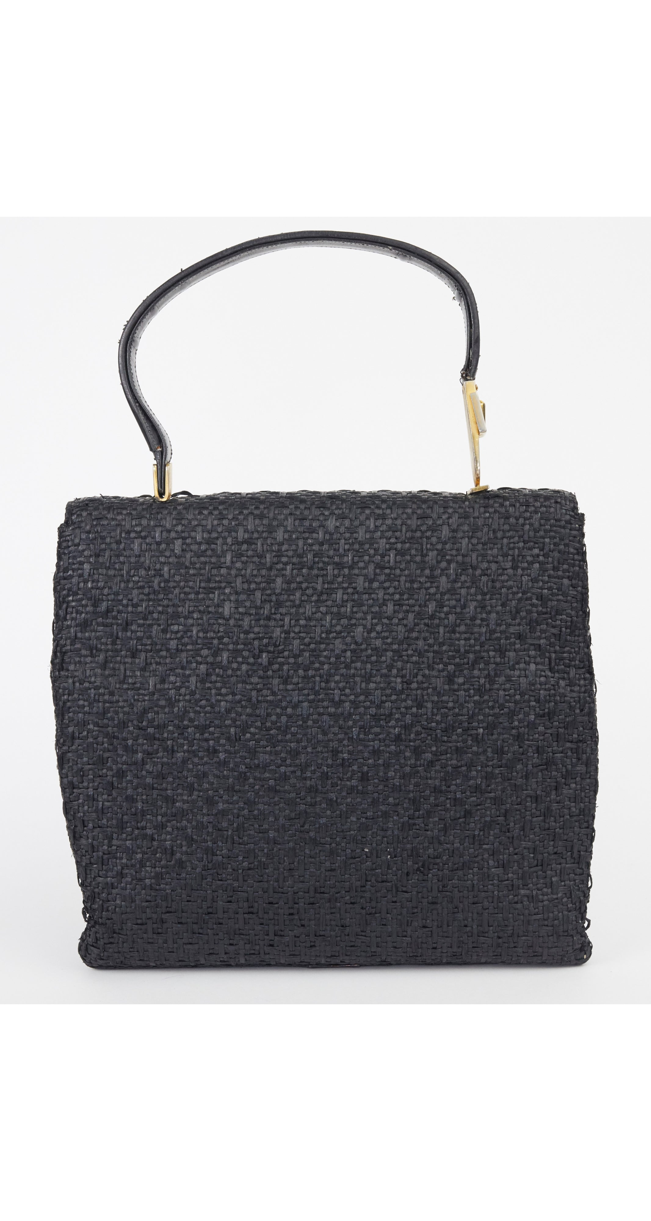 1950s Black Straw & Leather Top-Handle Bag