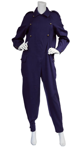 1970s Navy Wool Military Jumpsuit